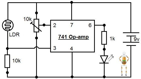 lab 3in the circuit it is connected to an led via 1k resistor, but you can also connect a transistor to turn on a relay, motor or any other output